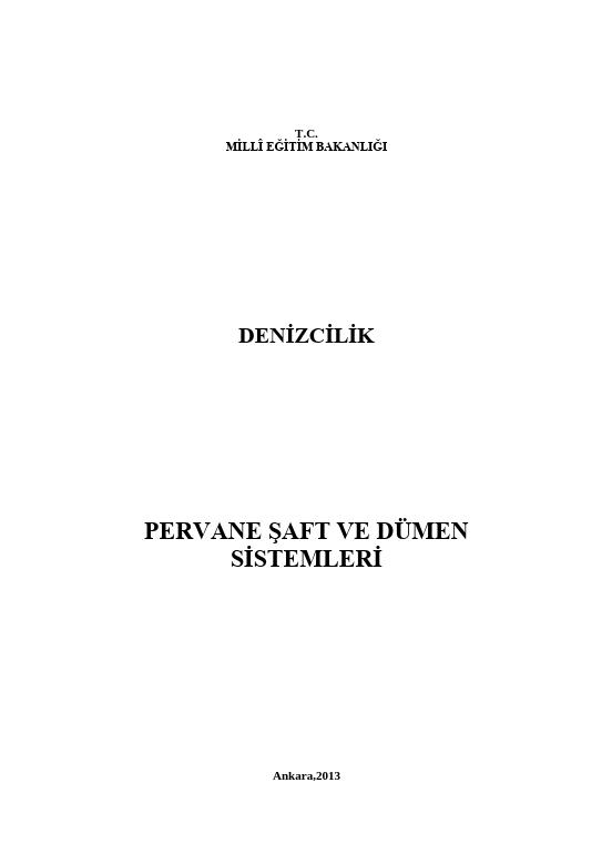 Pervane Şaft Ve Dümen Sistemleri ders notu pdf