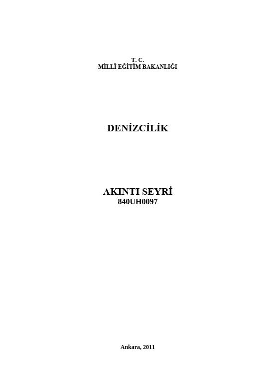 Akıntı Seyri ders notu pdf