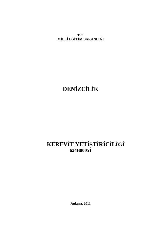 Kerevit Yetiştiriciliği