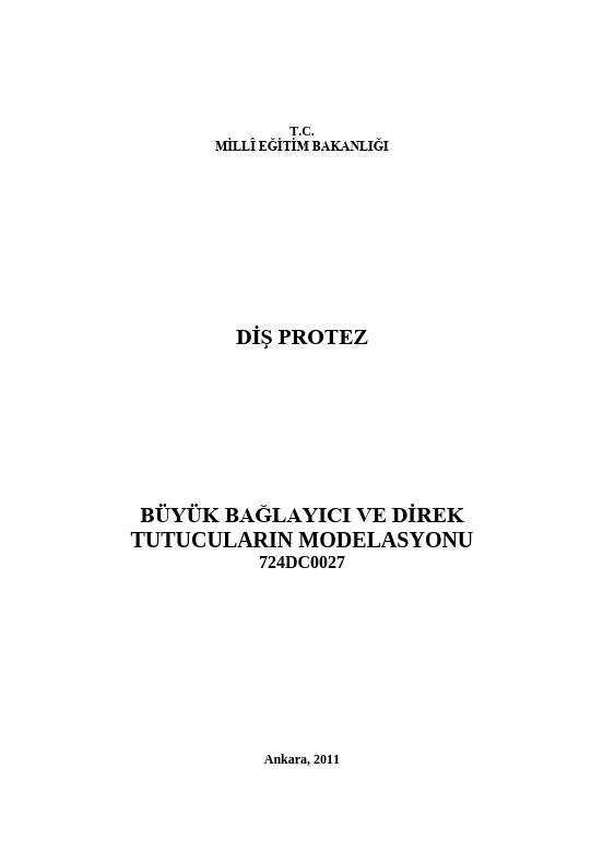 Büyük Bağlayıcı Ve Direkt Tutuculatın Modelasyonu ders notu pdf