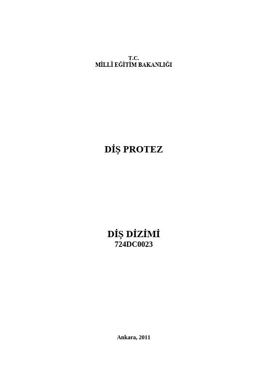 Diş Dizimi ders notu pdf