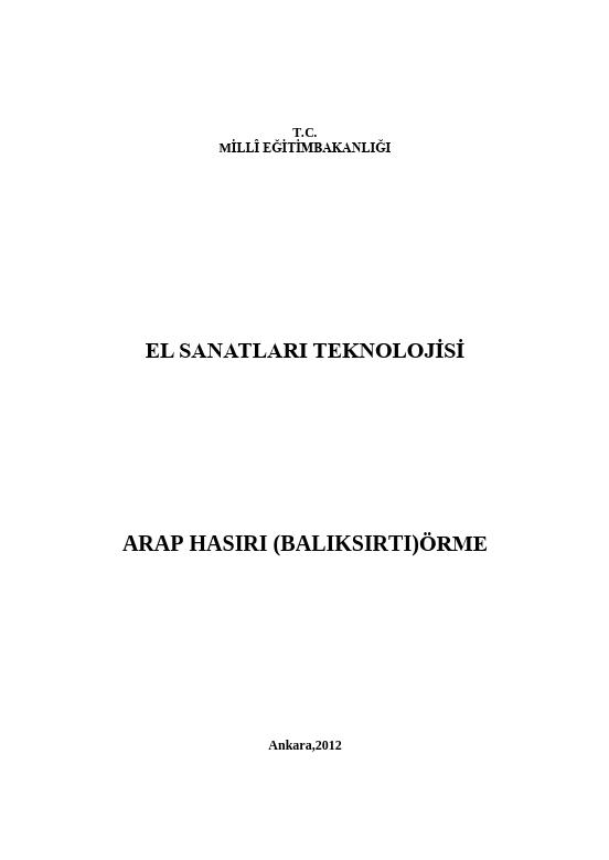 Arap Hasırı (Balıksırtı) Örme ders notu pdf