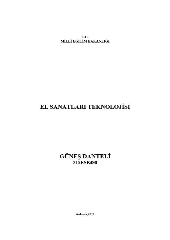 Güneş Danteli ders notu pdf