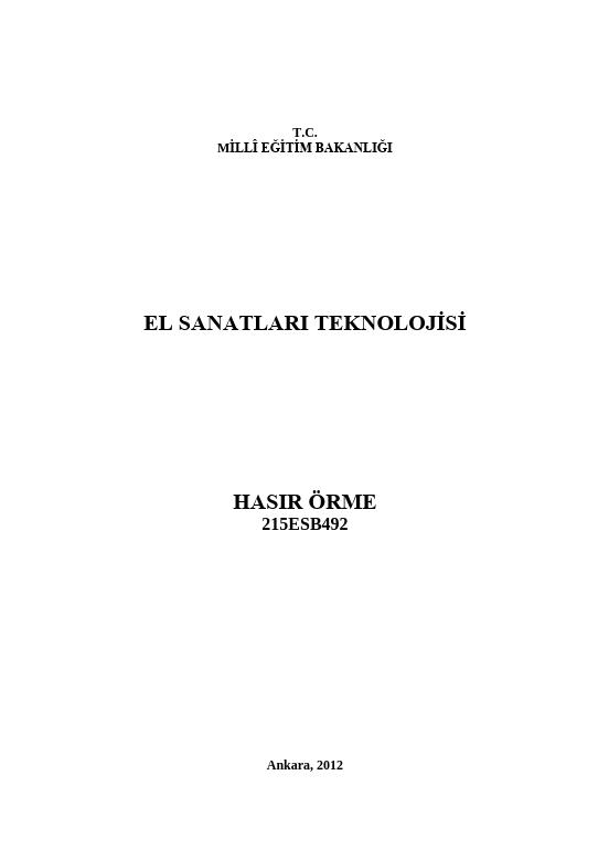 Hasır Örme (el Sanatları) ders notu pdf
