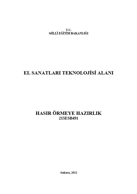 Hasır Örmeye Hazırlık ders notu pdf