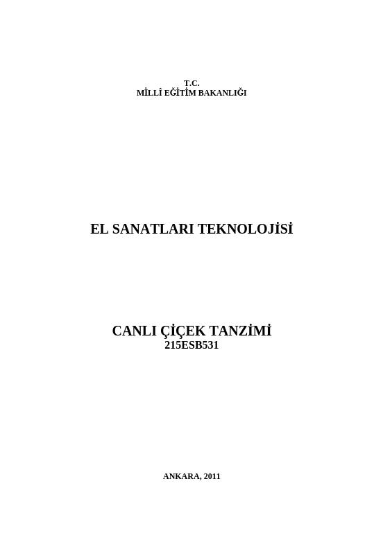 Canlı Çiçek Tanzimi ders notu pdf
