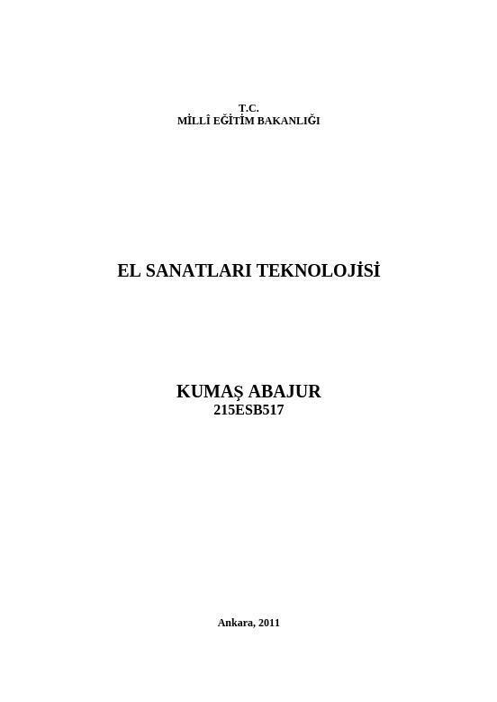Kumaş Abajur ders notu pdf