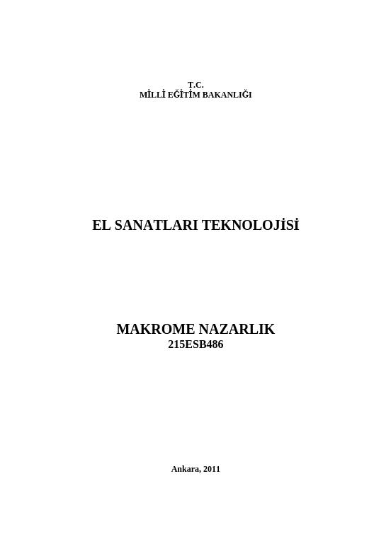 Makrome Nazarlık ders notu pdf