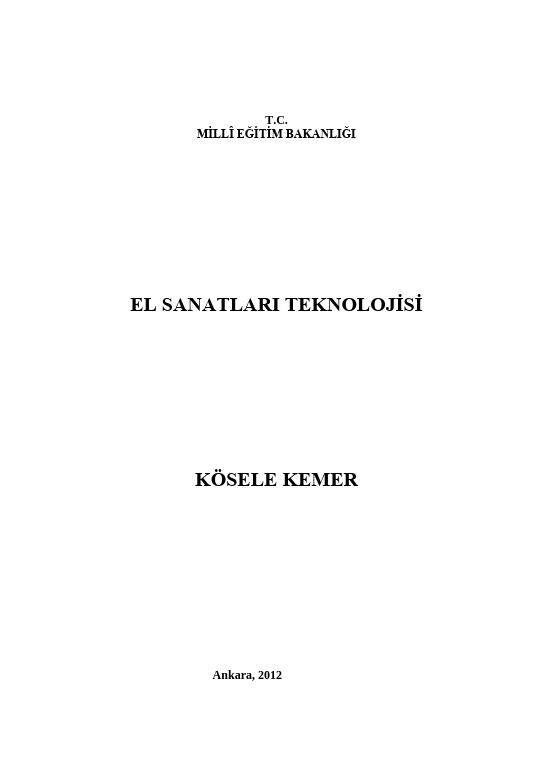 Kösele Kemer (El Sanatları) ders notu pdf