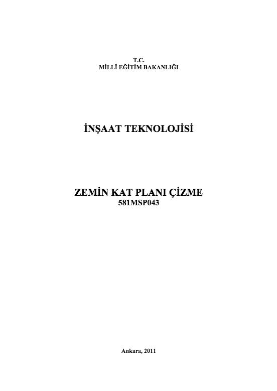 Zemin Kat Planı Çizim ders notu pdf