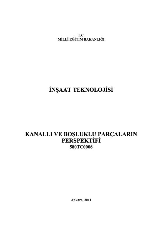 Kanallı Ve Boşluklu Parçaların Perspektifi ders notu pdf