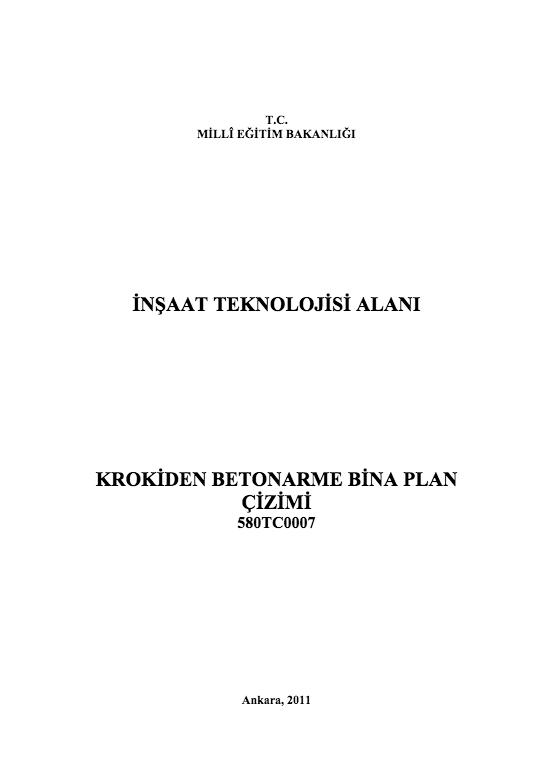Krokiden Betonarme Bina Plan Çizimi ders notu pdf