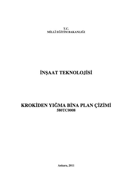 Krokiden Yığma Bina Plan Çizimi ders notu pdf