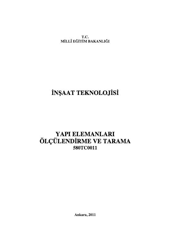 Yapı Elemanları Ölçülendirme Ve Tarama ders notu pdf