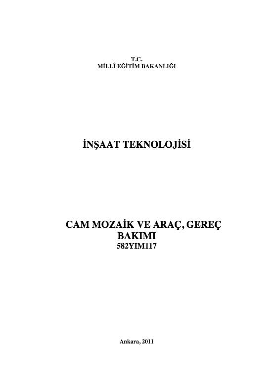 Cam Mozaik Ve Araç Gereç Bakımı ders notu pdf