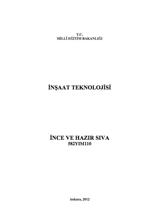 İnce Ve Hazır Sıva ders notu pdf