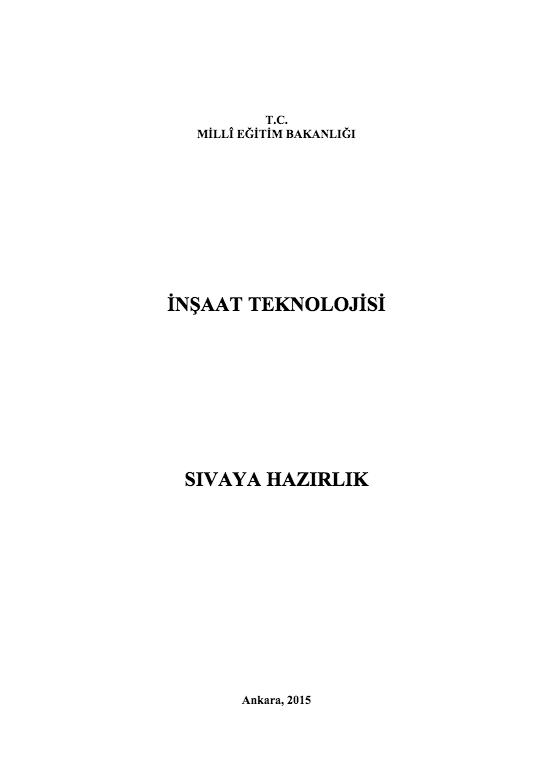 Sıvaya Hazırlık ders notu pdf
