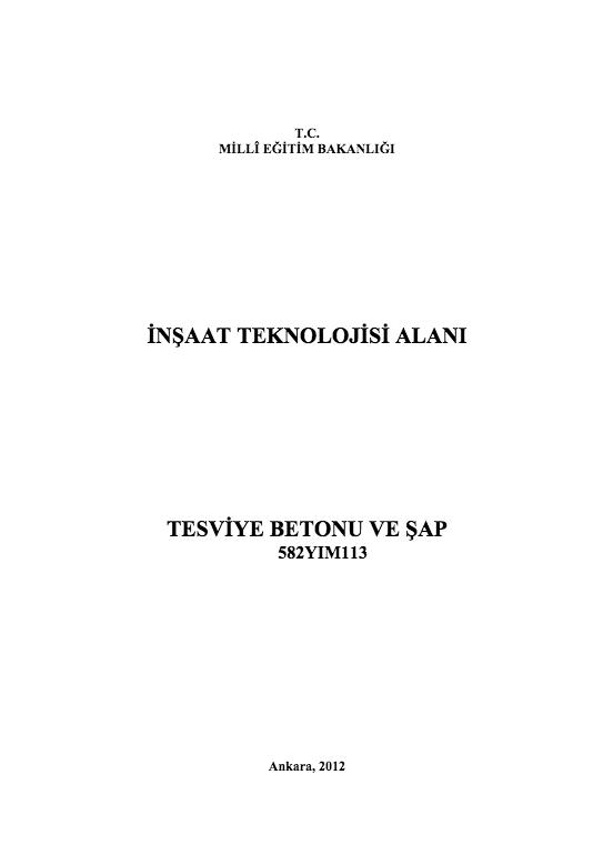 Tesviye Betonu Ve Şap ders notu pdf