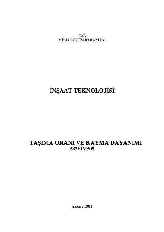 Taşıma Oranı Ve Kayma Dayanımı ders notu pdf