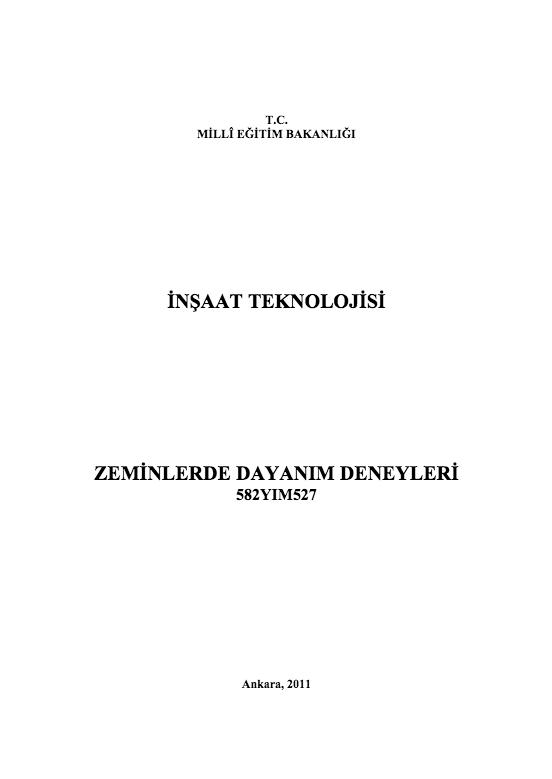 Zeminlerde Dayanım Deneyleri ders notu pdf