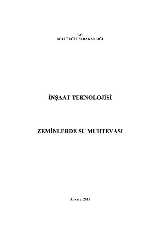Zeminlerde Su Muhtevası ders notu pdf