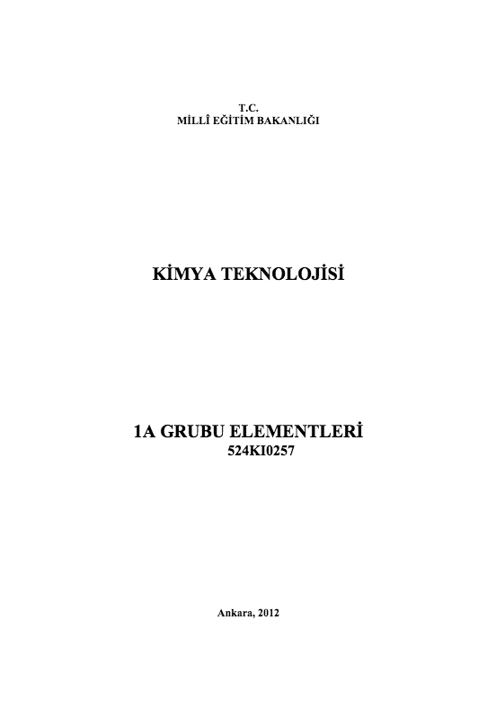 1 A Grubu Elementleri