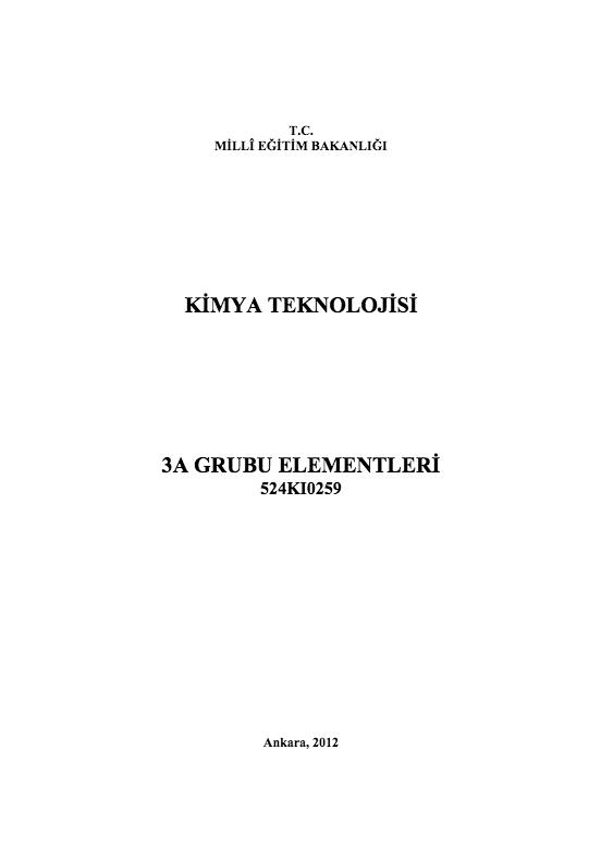 3 A Grubu Elementleri ders notu pdf