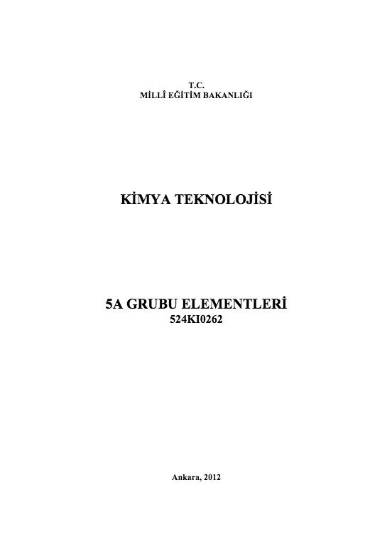 5 A Grubu Elementleri ders notu pdf