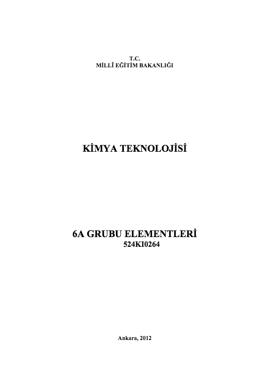 6 A Grubu Elementleri