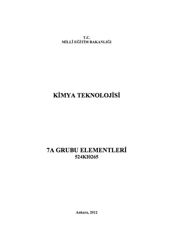 7 A Grubu Elementleri ders notu pdf