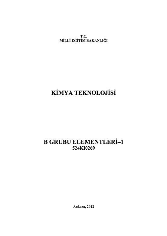 B Grubu Elementleri-1 ders notu pdf