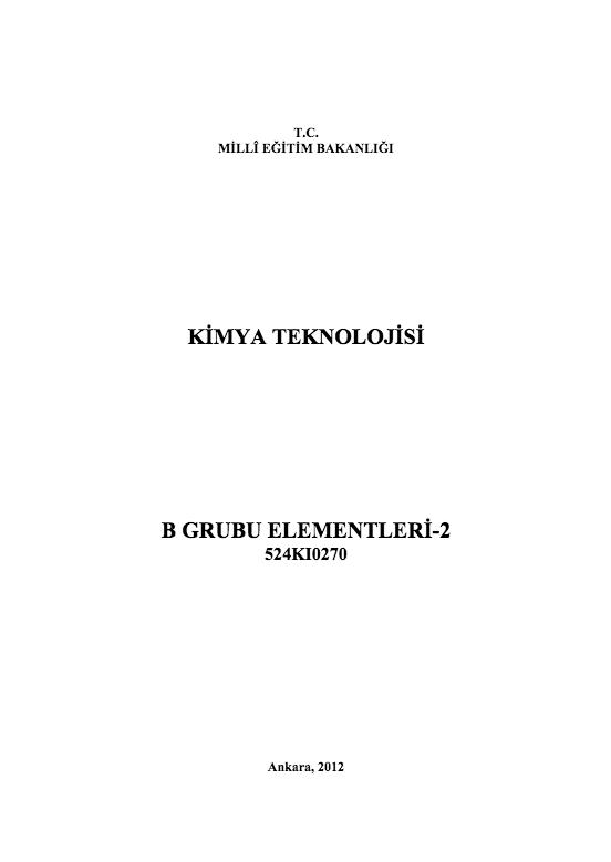 B Grubu Elementleri-2 ders notu pdf