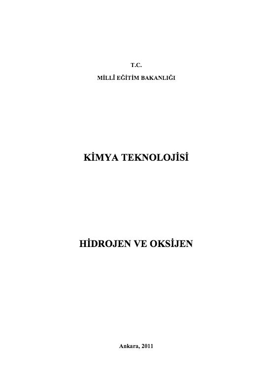 Hidrojen Ve Oksijen ders notu pdf