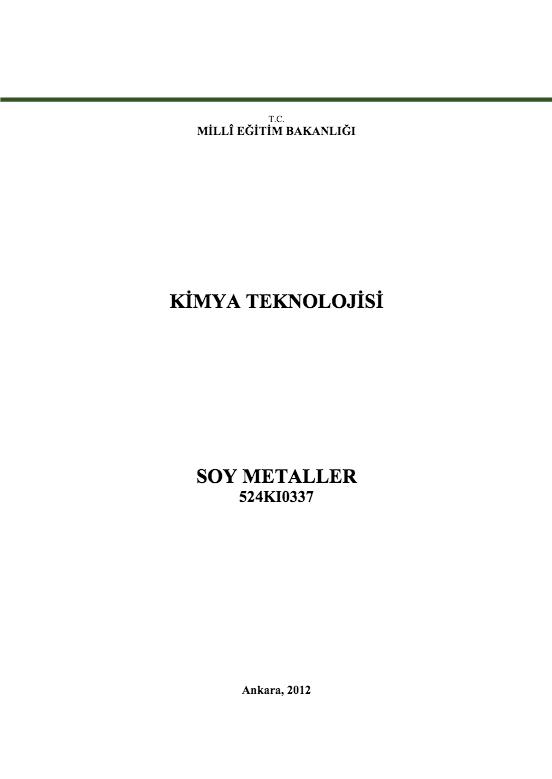 Soy Metaller ders notu pdf