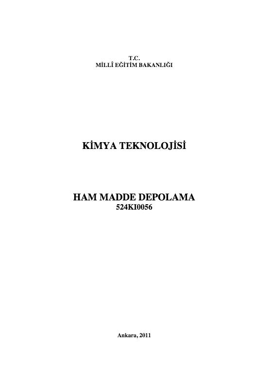 Ham Madde Depolama ders notu pdf