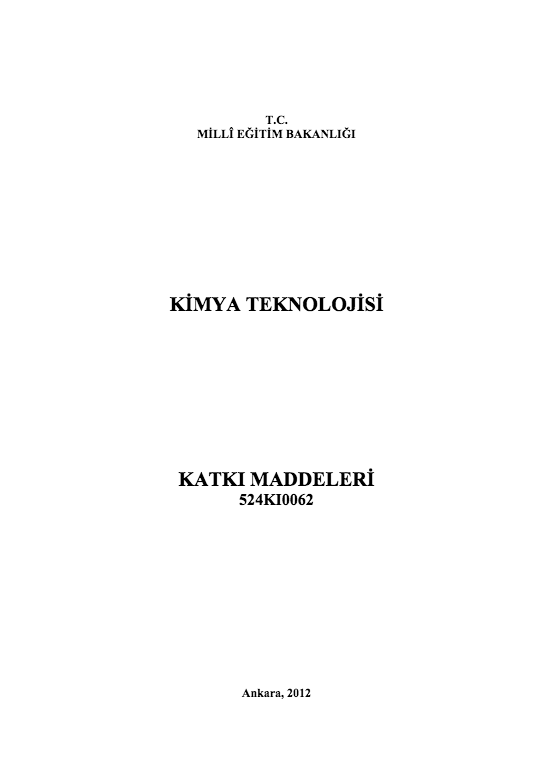 Katkı Maddeleri ders notu pdf