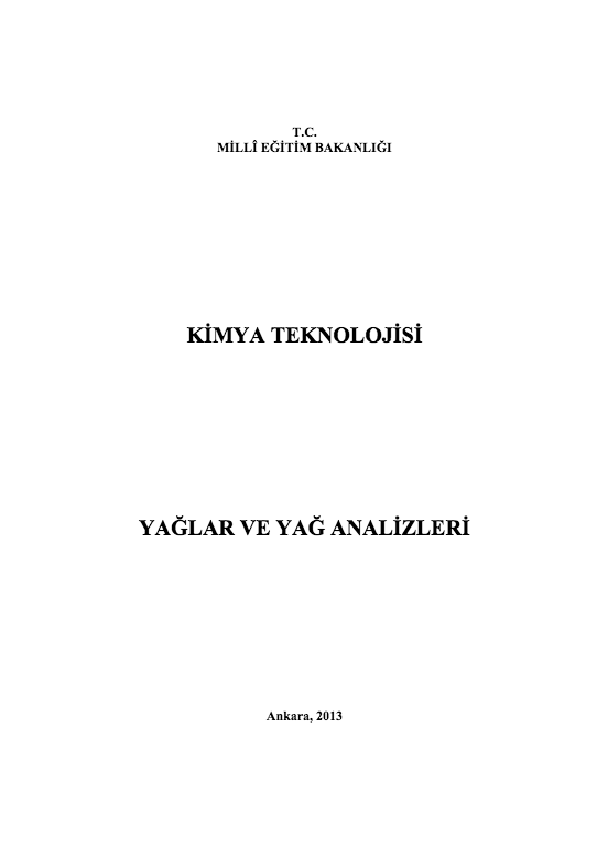 Yağlar Ve Yağ Analizleri ders notu pdf