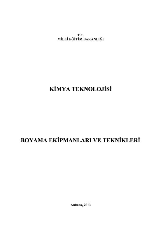 Boyama Ekipmanları Ve Teknikleri ders notu pdf