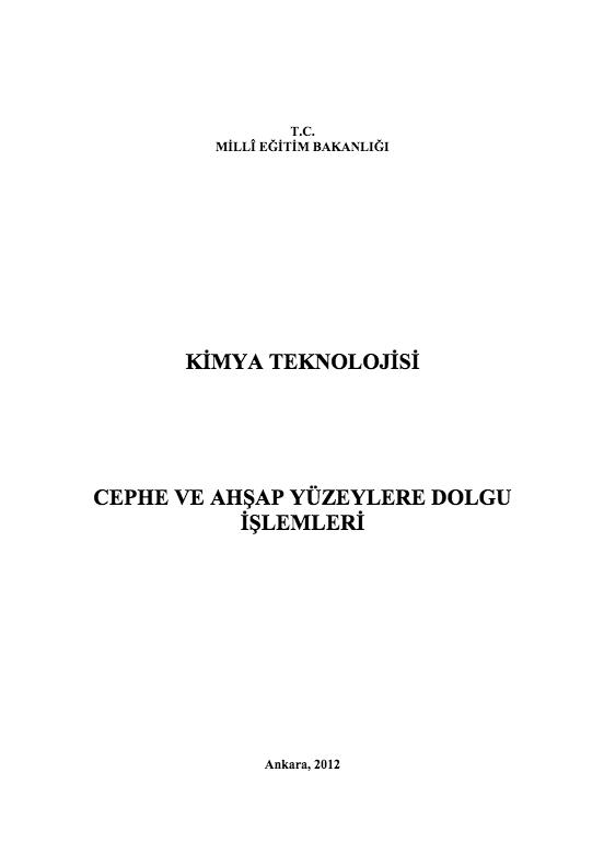 Cephe Ve Ahşap Yüzeylere Dolgu İşlemleri ders notu pdf