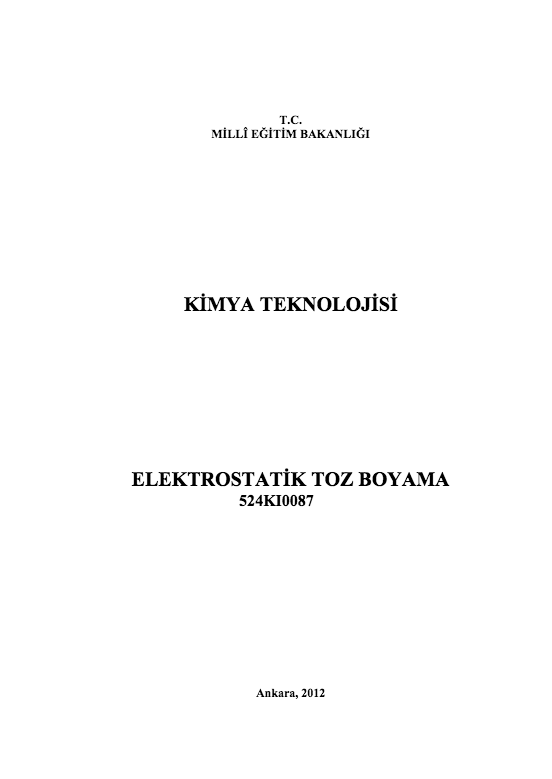 Elektrostatik Toz Boyama ders notu pdf