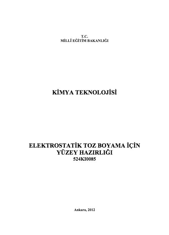 Elektrostatik Toz Boyama İçin Yüzey Hazırlığı ders notu pdf
