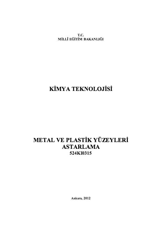 Metal Ve Plastik Yüzeyleri Astarlama ders notu pdf