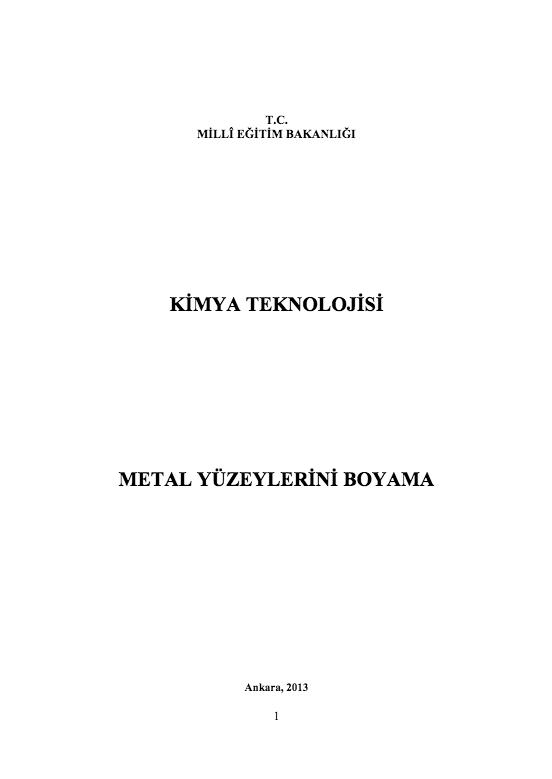 Metal Yüzeyleri Boyama ders notu pdf