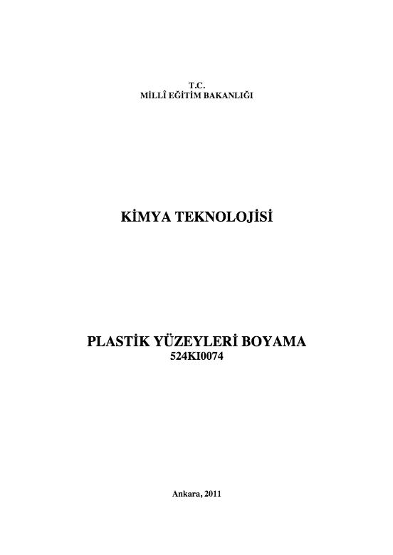 Plastik Yüzeyleri Boyama ders notu pdf