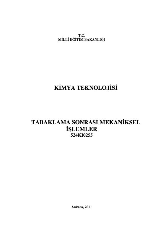 Tabaklama Sonrası Mekaniksel İşlemler ders notu pdf