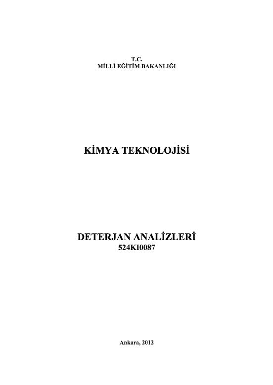 Deterjan Analizleri ders notu pdf