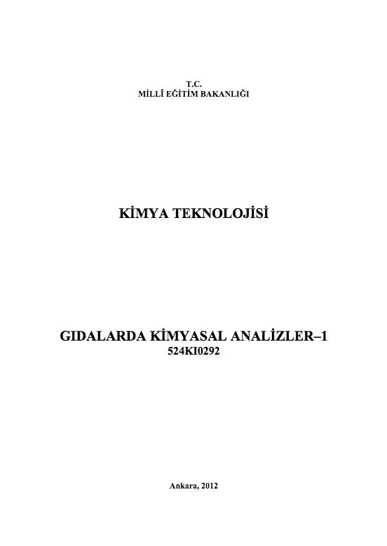 Gıdalarda Kimyasal Analizler -1 ders notu pdf