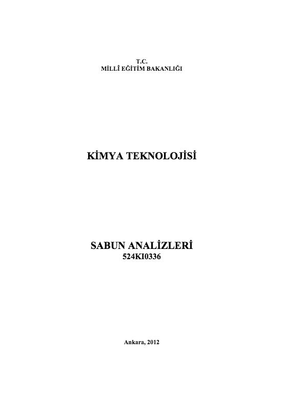 Sabun Analizleri ders notu pdf