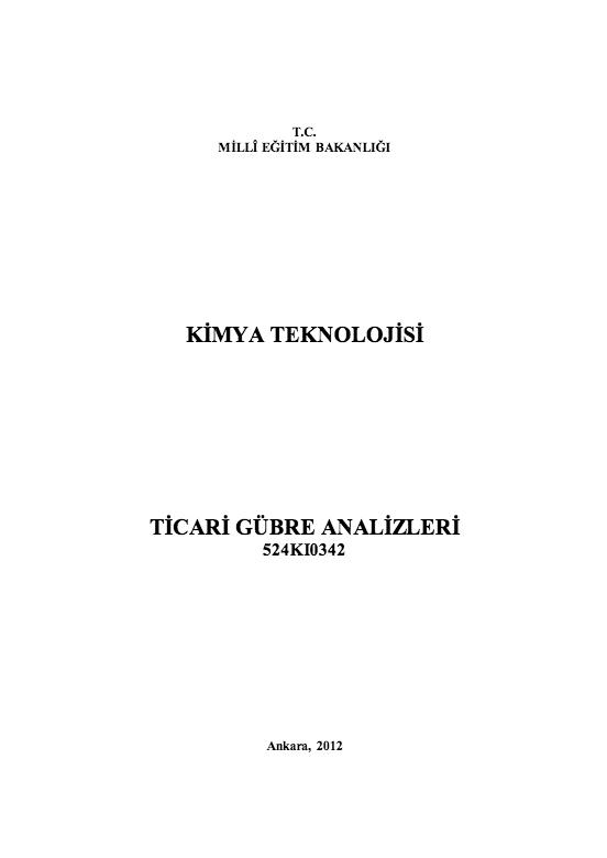 Ticari Gübre Analizleri ders notu pdf