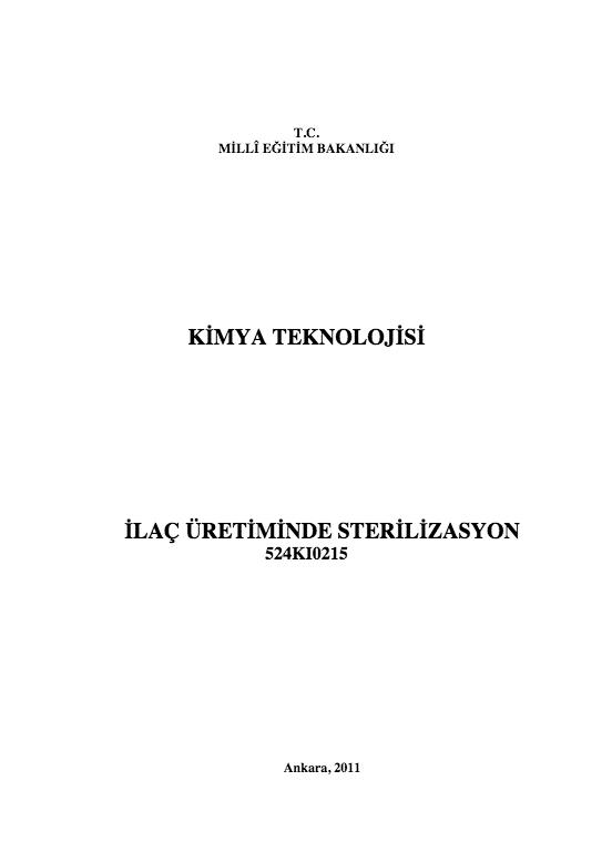 İlaç Üretiminde Sterilizasyon ders notu pdf